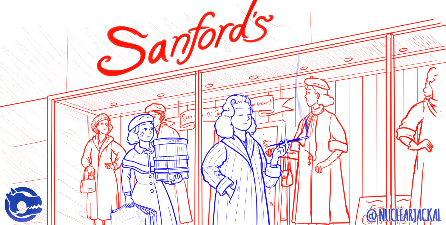 Clothes shopping in 1951 (Pencils)