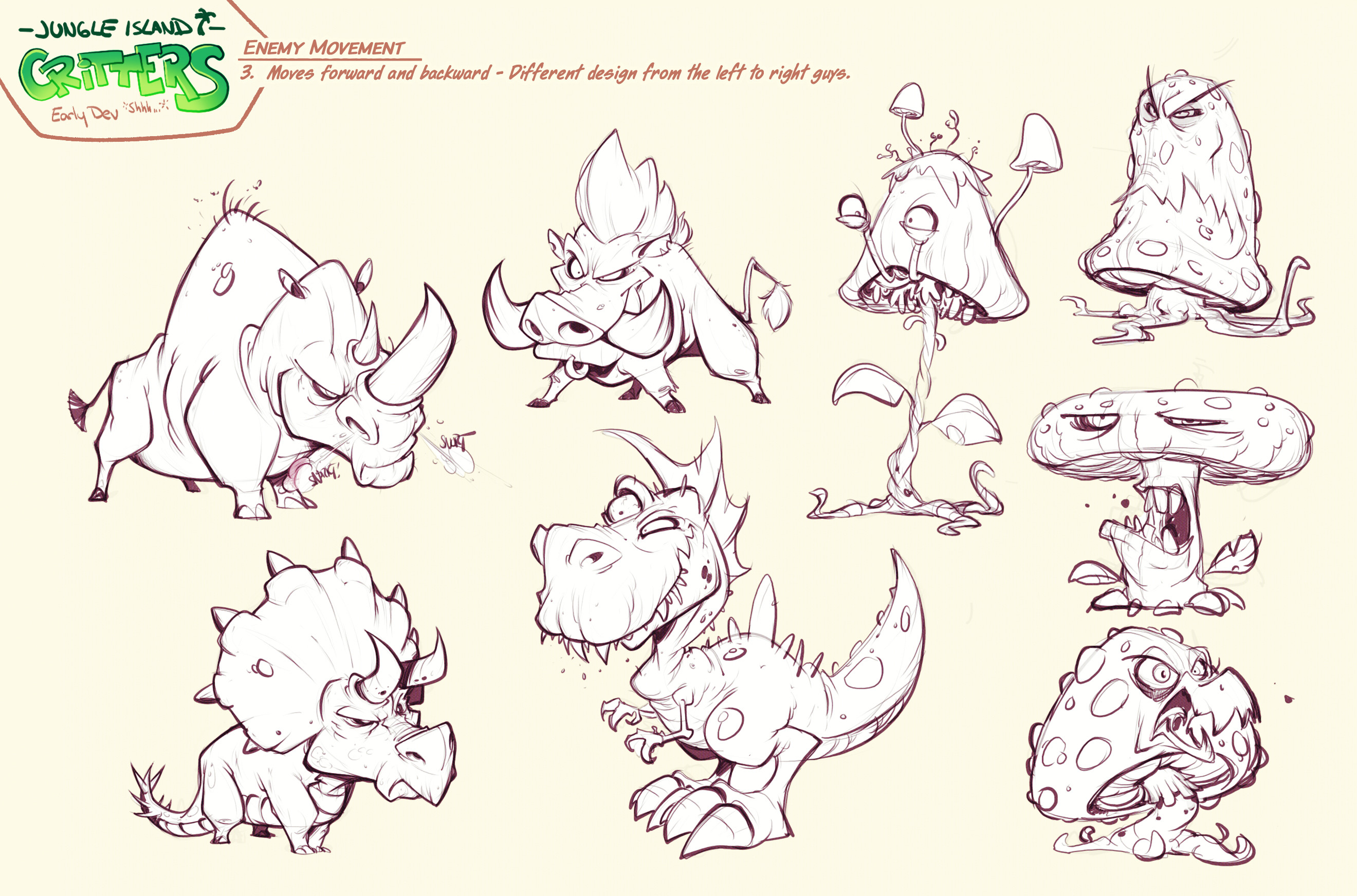 Critter Line sketches I never got the chance to color. The weirdness of killer fungi is my soul on paper.