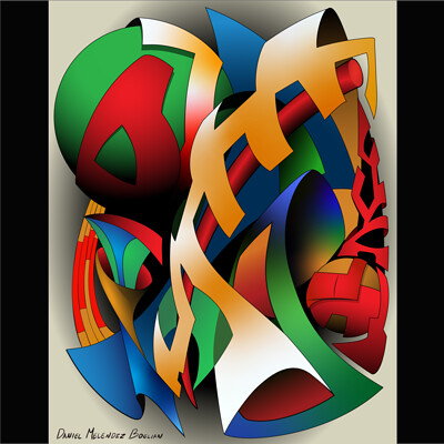 Daniel melendez boelian geometric color pencil sketch vectorized