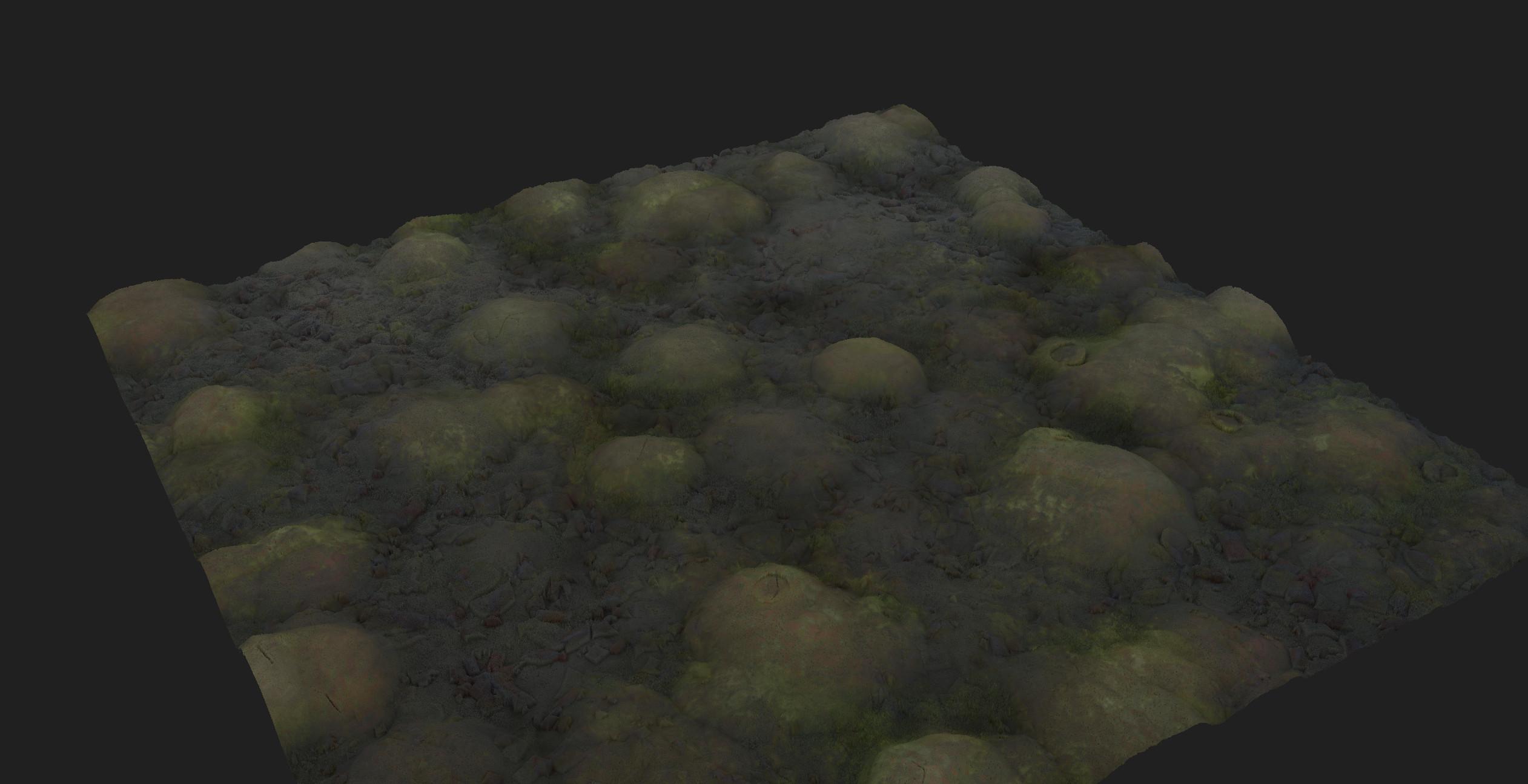 Stone ground, still wet on dirt