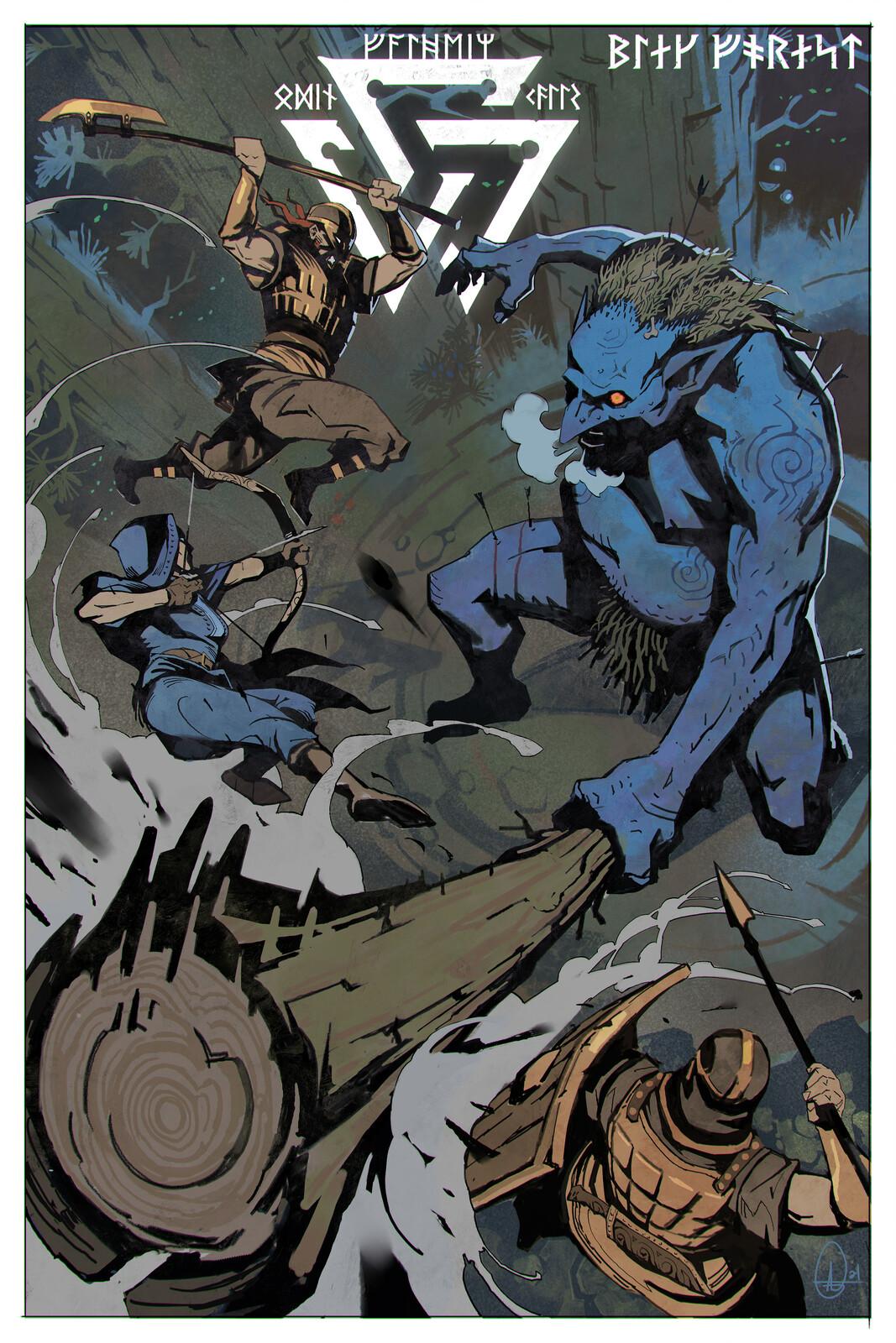 Valheim Poster - Fanart - Troll Battle