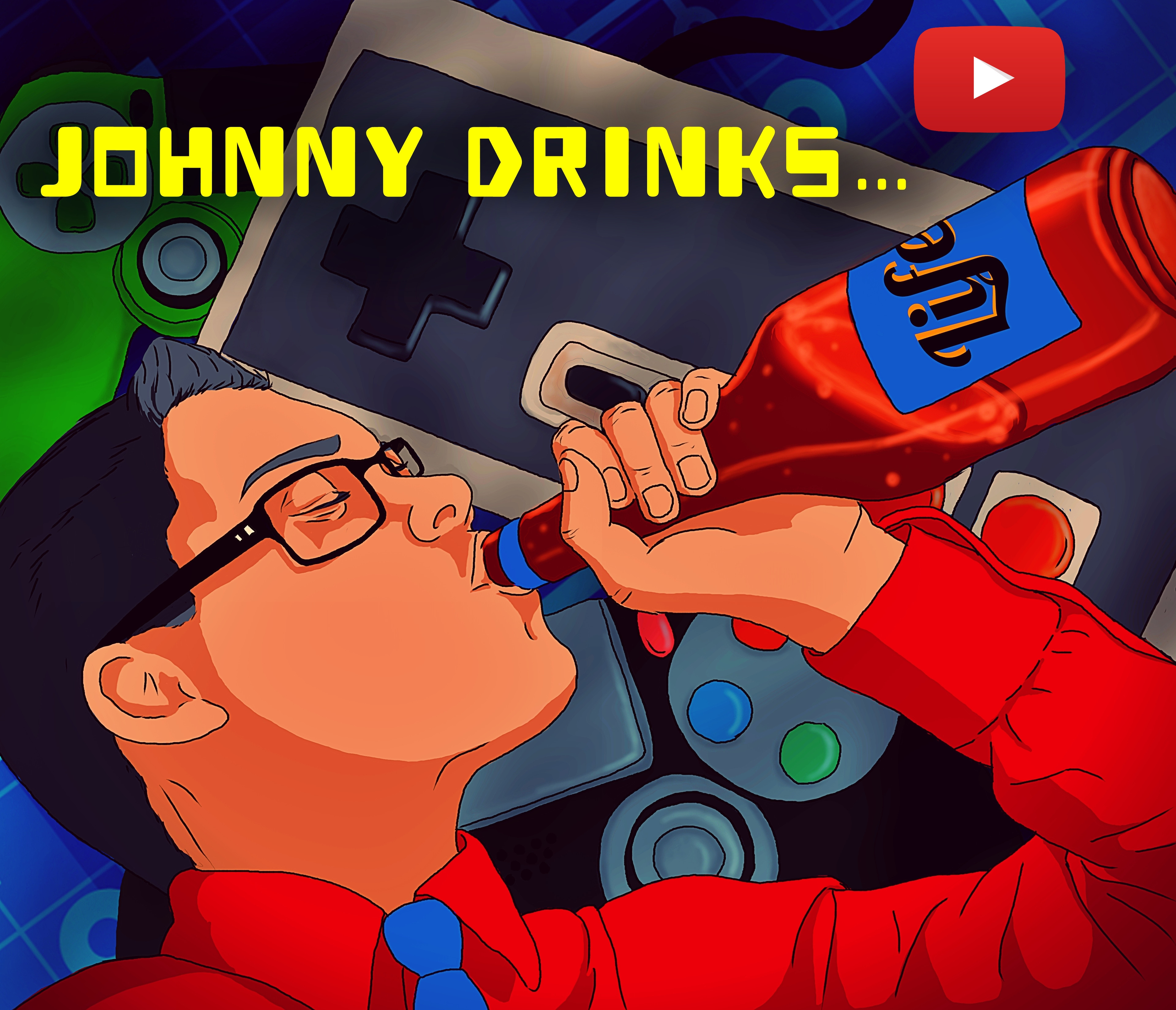 Digital illustration of my friend Johnny, made for his Youtube channel.