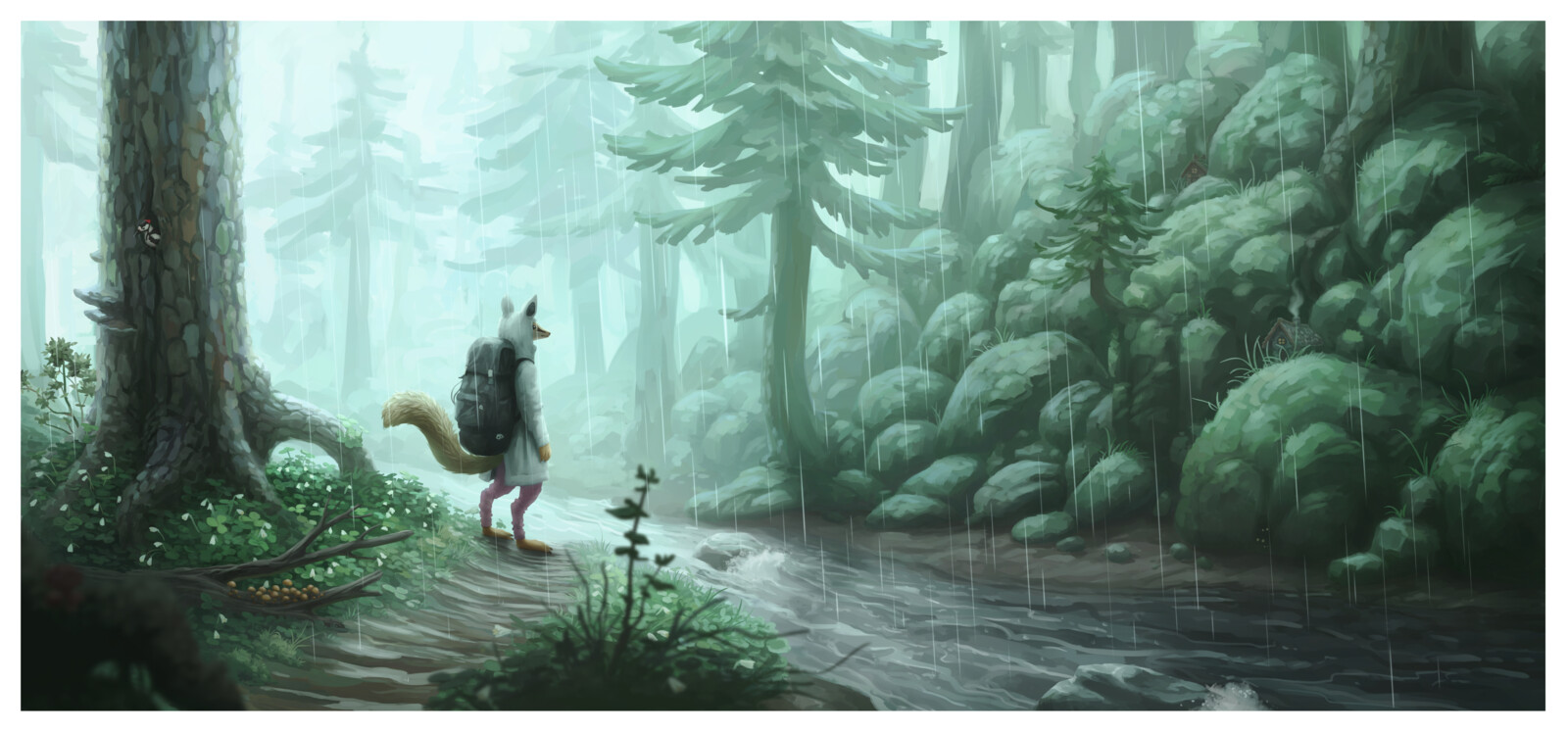 forest stream in the rain