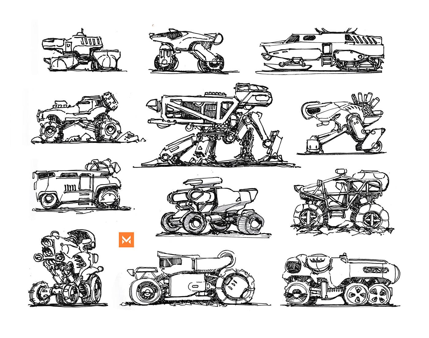 Various scifi vehicle type drafts