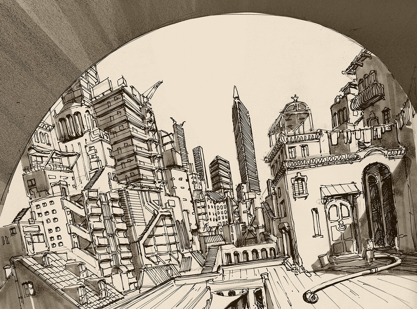 Cityscape drawing