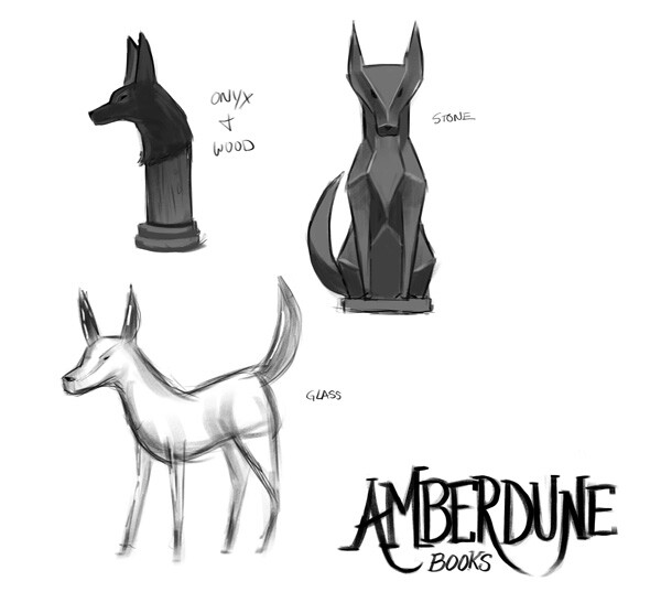 Sketches working out the various jackal statuettes around the book stall.
