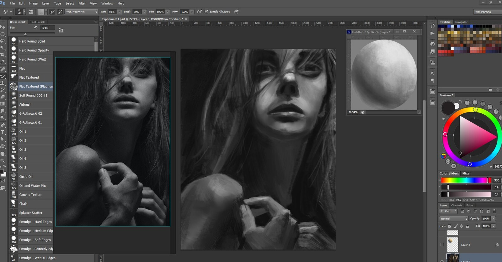 "After the ""value pass"", still visibly in ""grayscale"" (never glanced at the colors before the next step)"