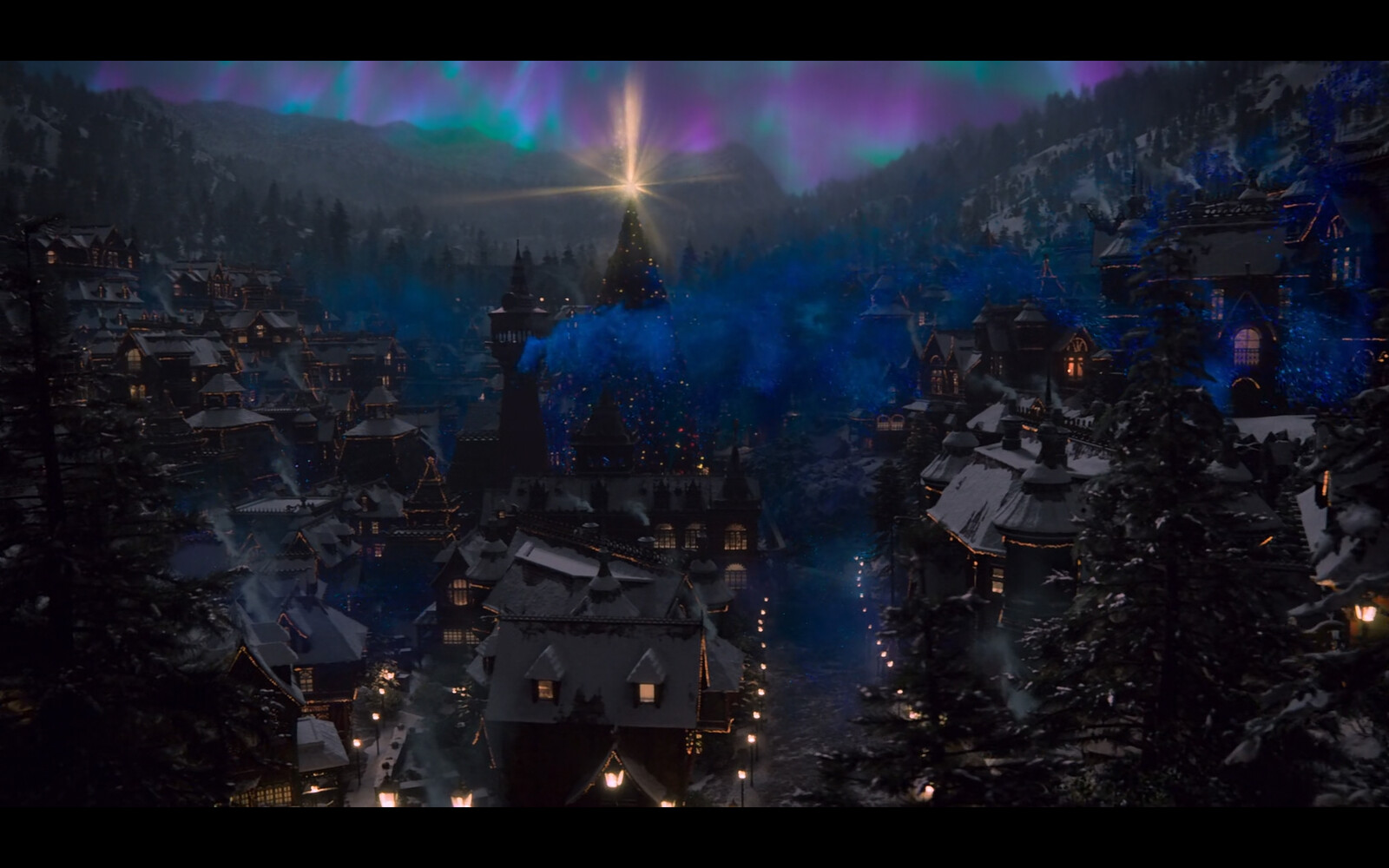 The Santa village shots by night play well with the Aurora in the background and all the lights in the houses and streets.