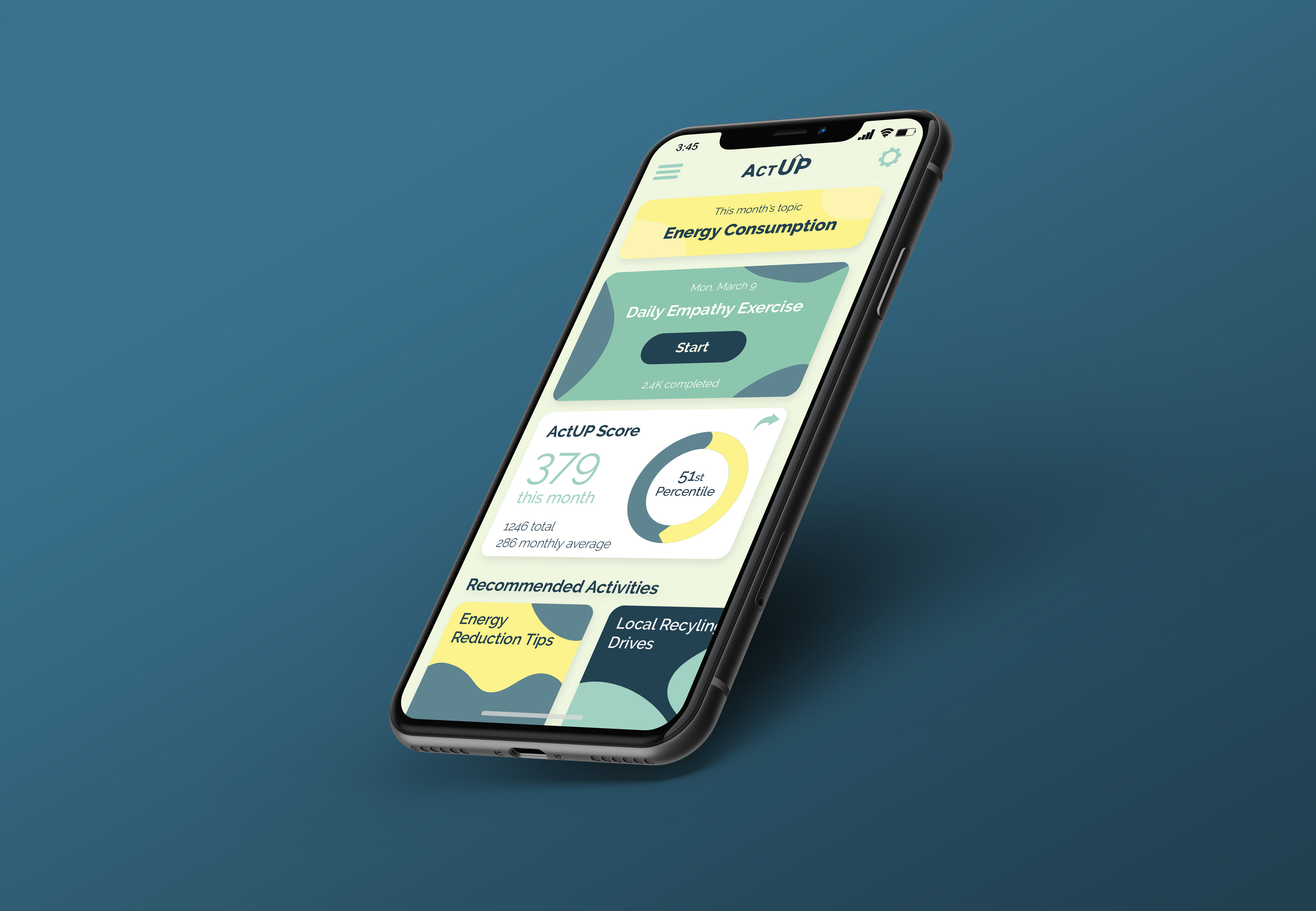 This home screen concept was created to showcase one way that for in-app actions based around the 3 pillars could be presented to a user.