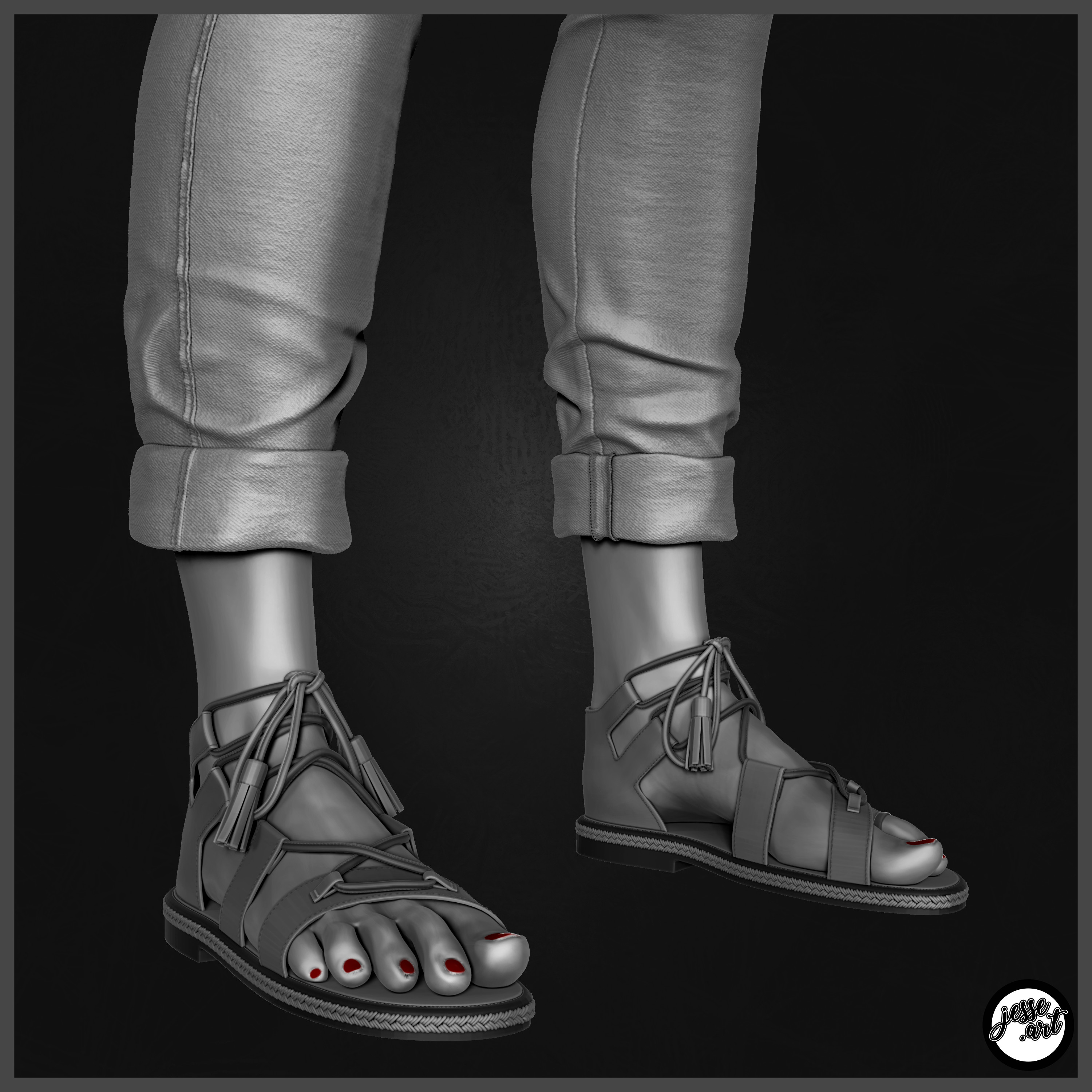 Modeled her sandals as well and took time to focus on details of the stitching.