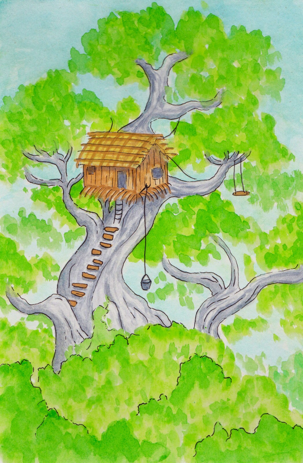 """""""The boy who lived in a tree"""" illustration"""
