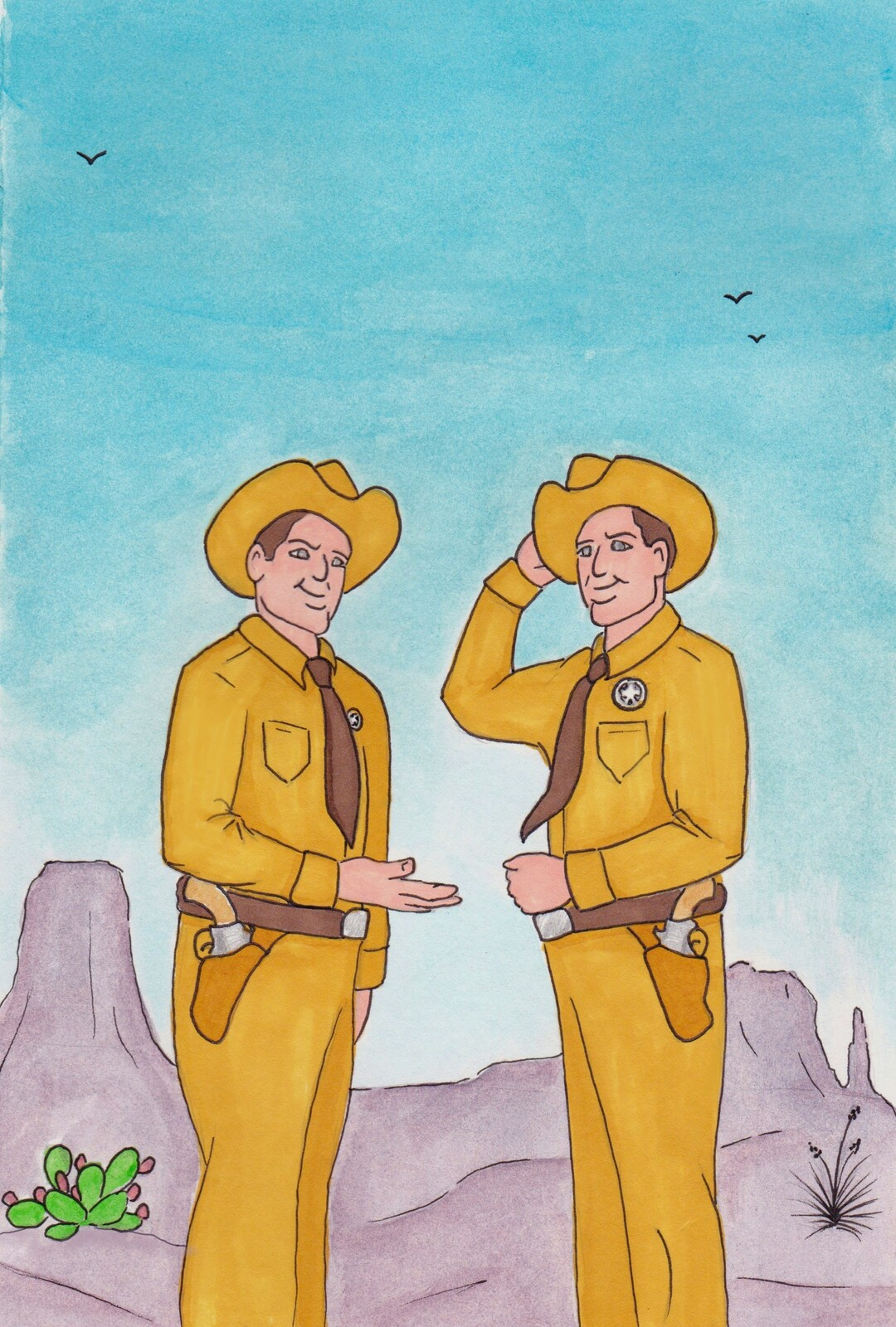 """Twin Texas Rangers"" illustration"