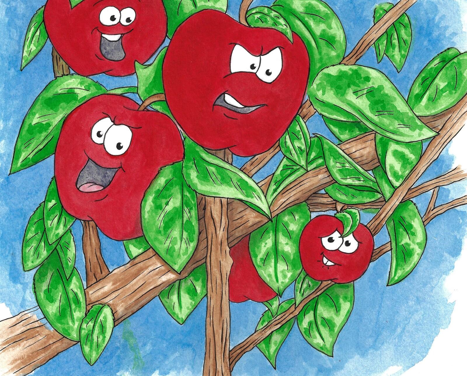 "Mean apples. ""Juicy John"" illustration"