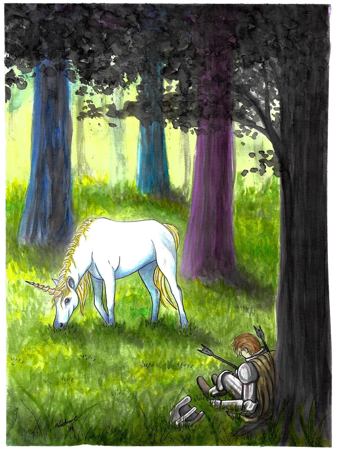 Unicorn. Fantasy painting