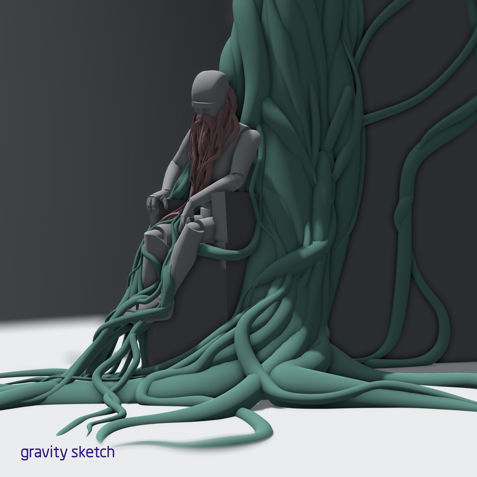 The old man/tree, sculpted in VR with Gravity Sketch