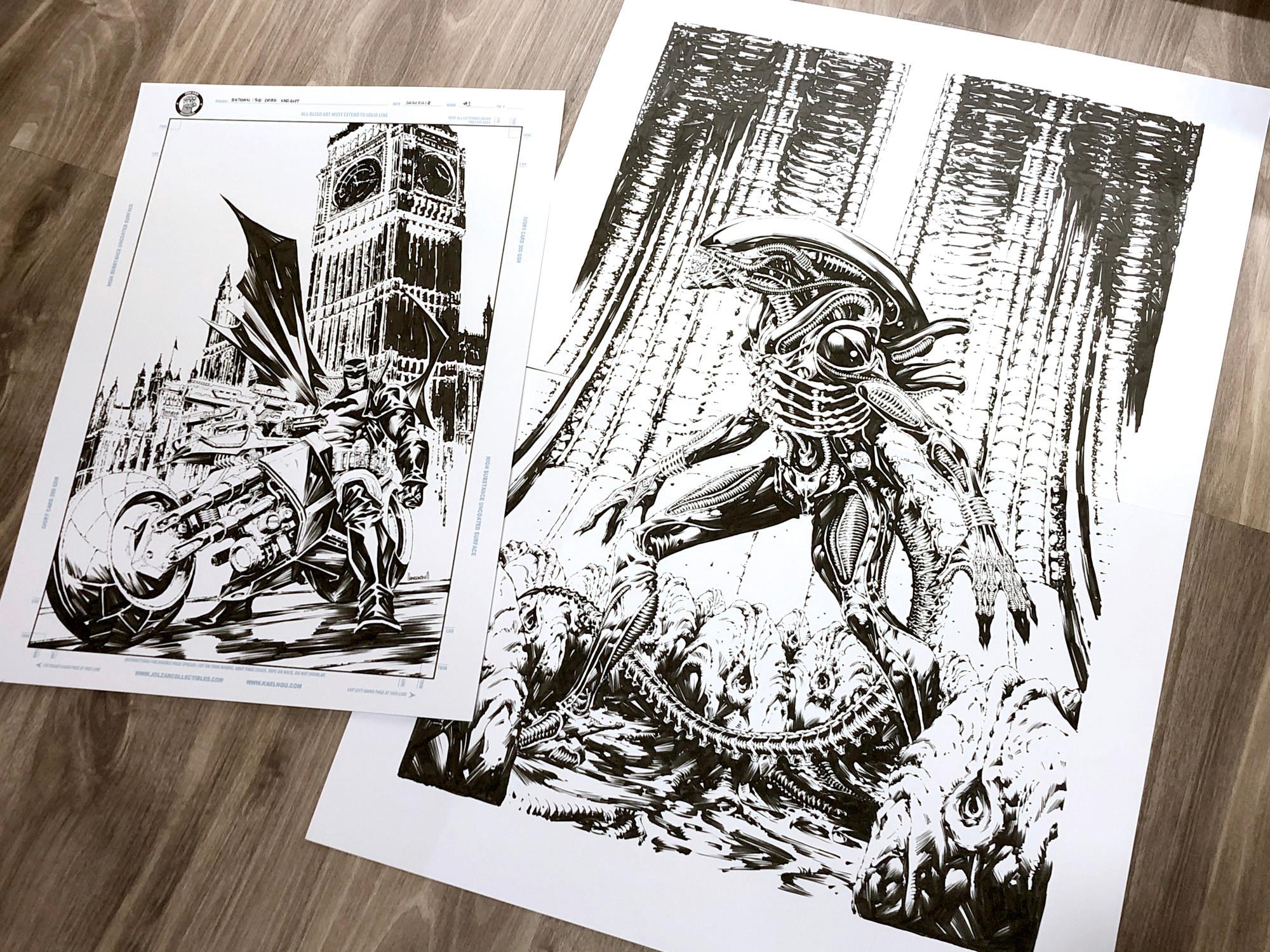 Scale comparison, Batman original art measuring 11x17, with Alien at 16x23.