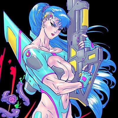 Atom cyber t shirt retro scifi babes black no title v2