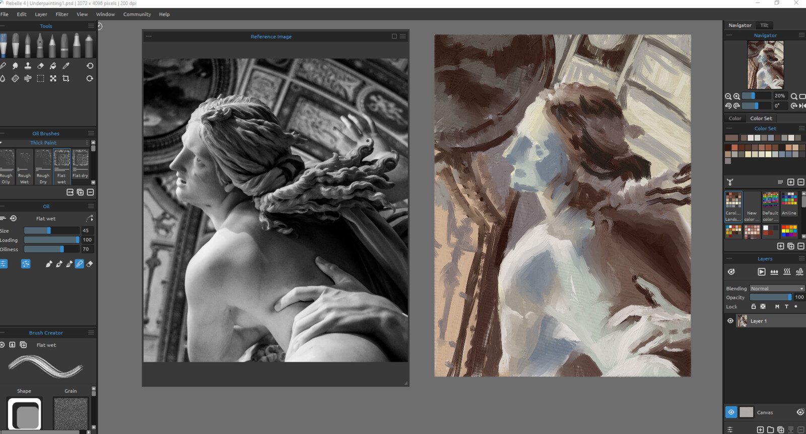 WIP - Color/value block in within Rebelle using the new Oil Brush engine