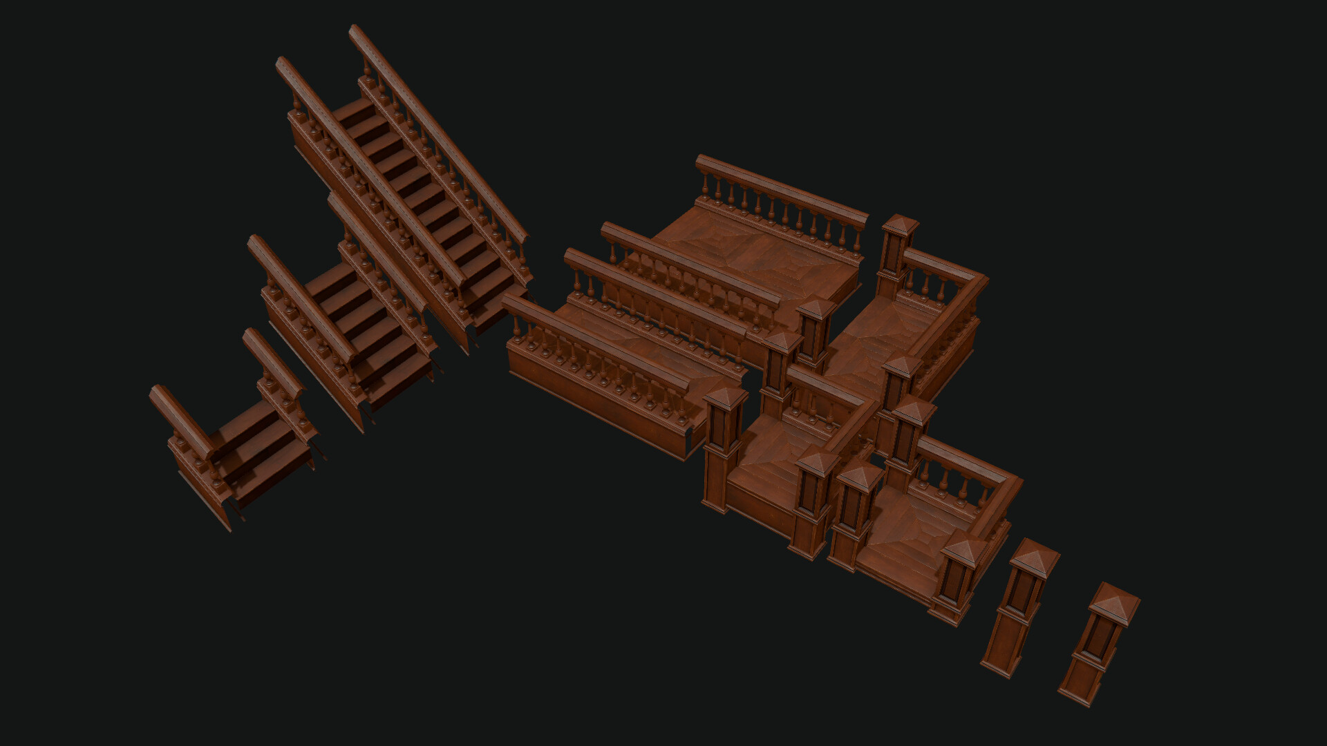 The modular set of Stairs and frames modeled with Blender Baked with Toolbag and textured with Substance Painter