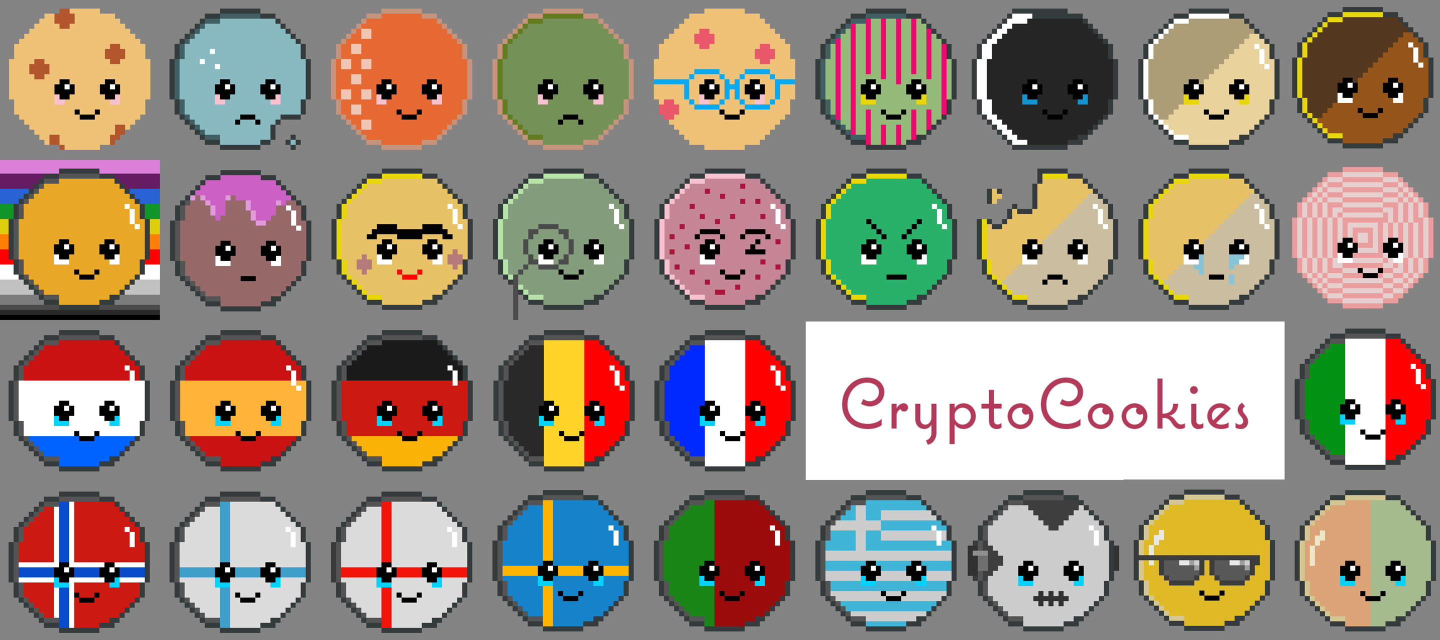 A collection of 40 PixelArt Cookies in the Ethereum Blockchain.  https://opensea.io/collection/cryptocookies-nft/