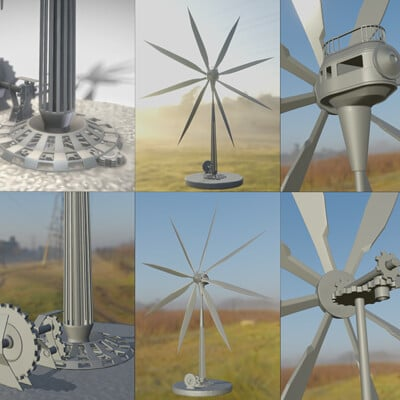 Dennis haupt 3dhaupt steampunk windturbine high poly version modeled and animated by 3dhaupt in blender 3d 3