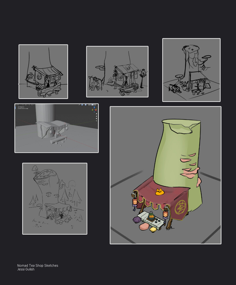 I sketched some rough thumbnails before greyboxing, sketching further, and finalizing the design