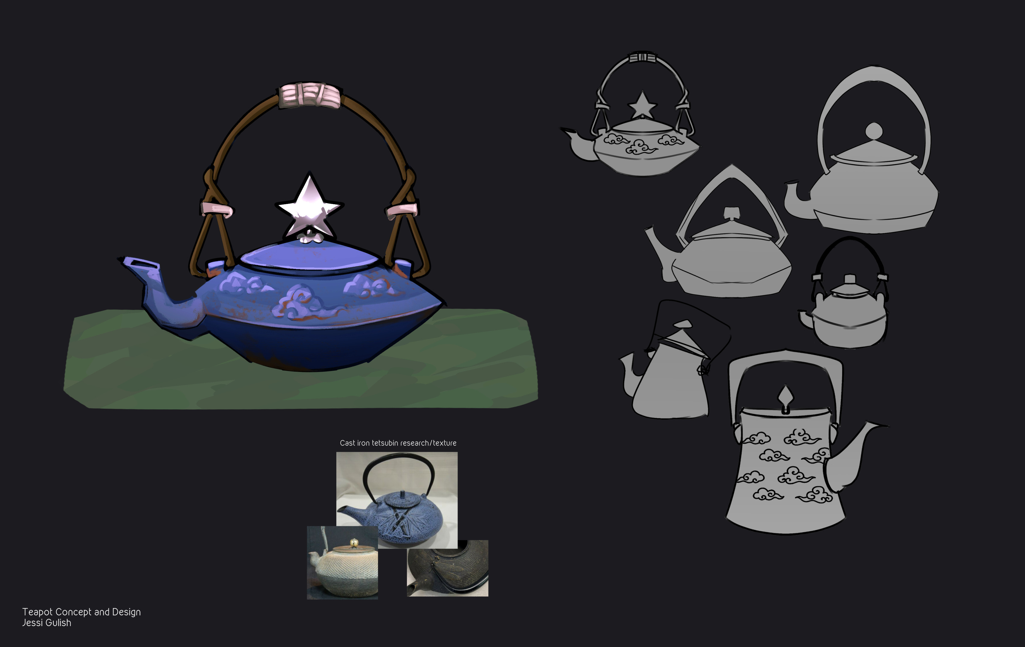 Teapot sketches and concept based off of Japanese tetsubin teapots