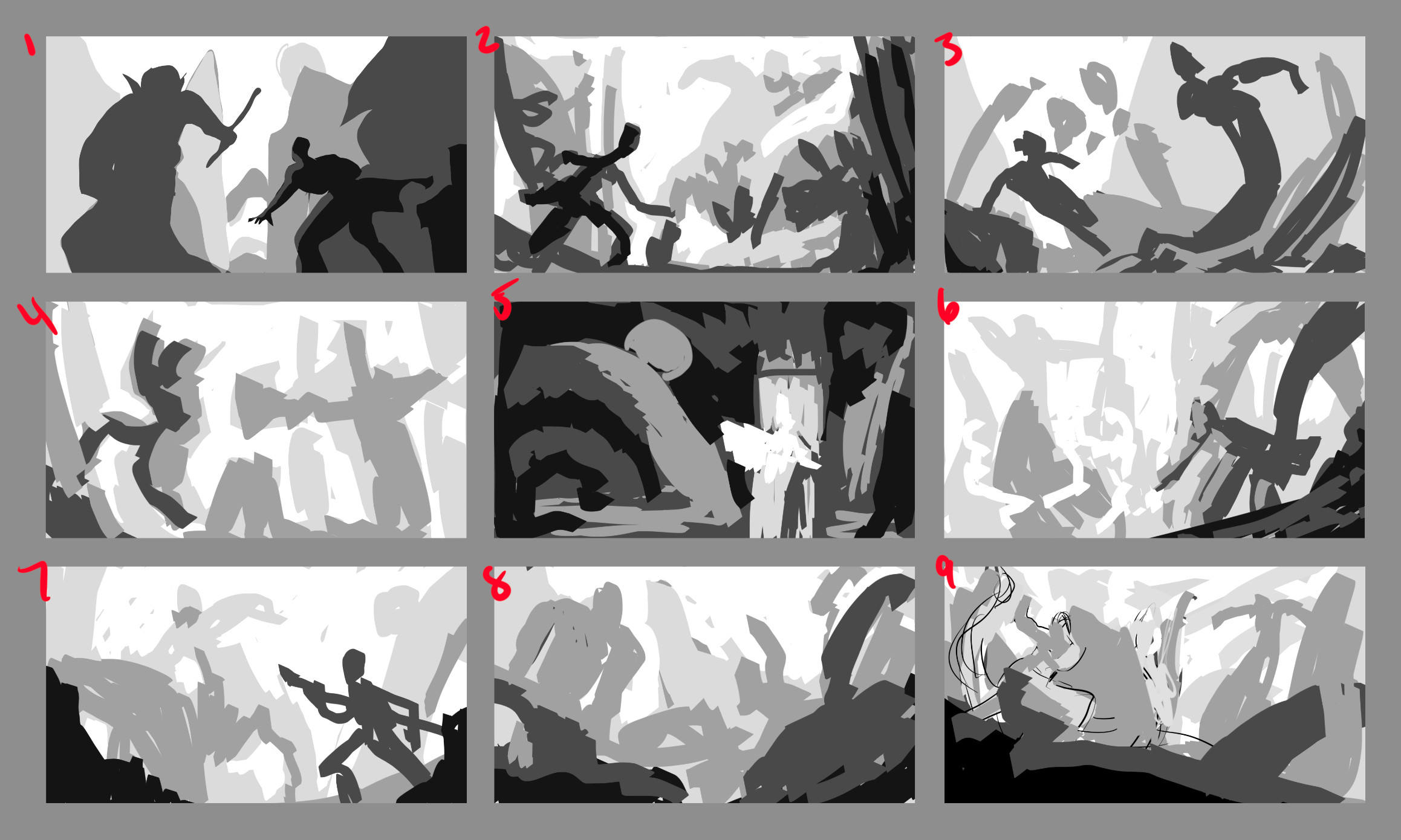 9 different thumbnails I was exploring for this revised version!  I ended up going with a mixture between 2 and 3.