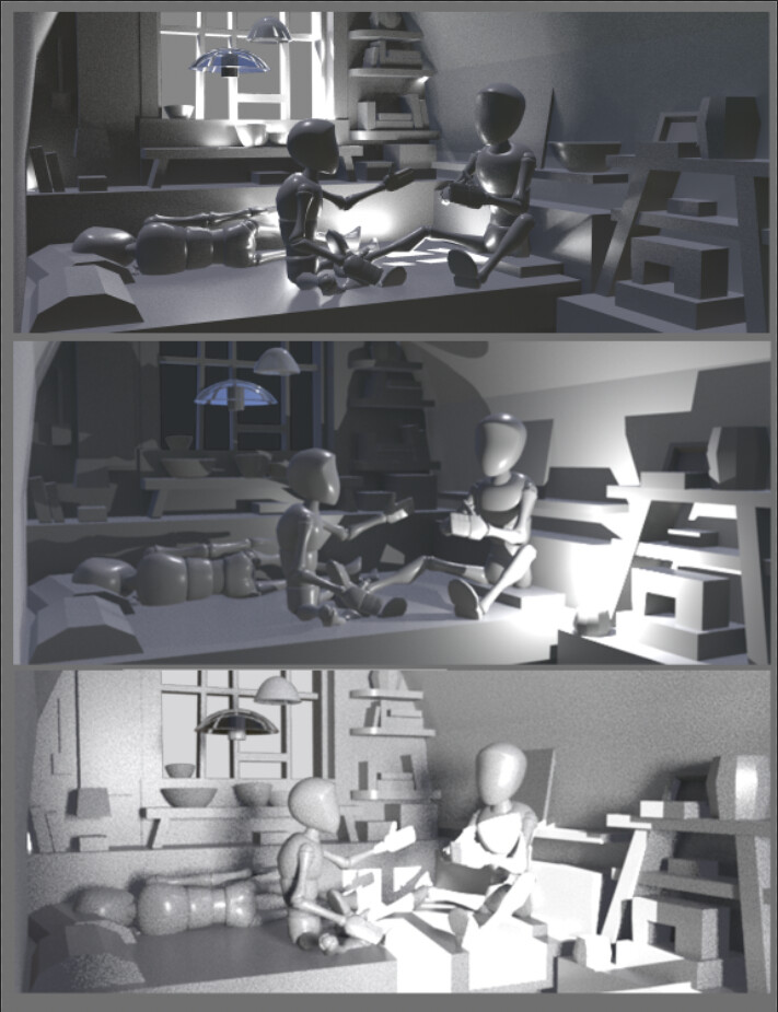 Built a little scene in maya to test lighting :)