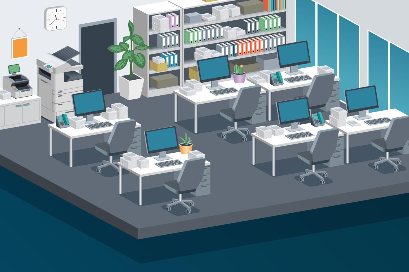 Modern Office - Isometric vector illustration