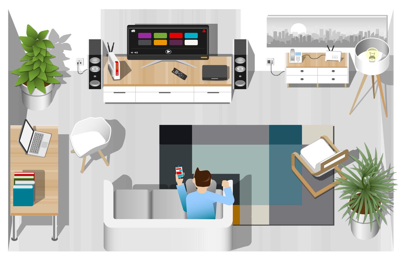 Home Entertainment - stylised vector illustration