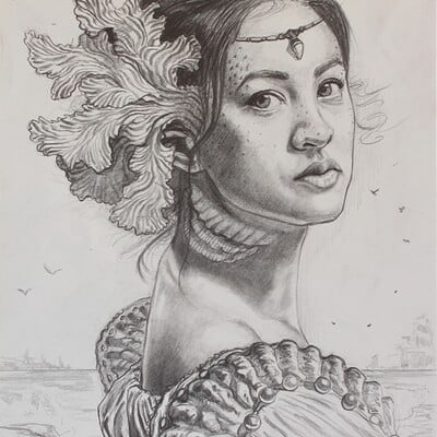 Andre mata lady of the sea preliminary drawing edited 2