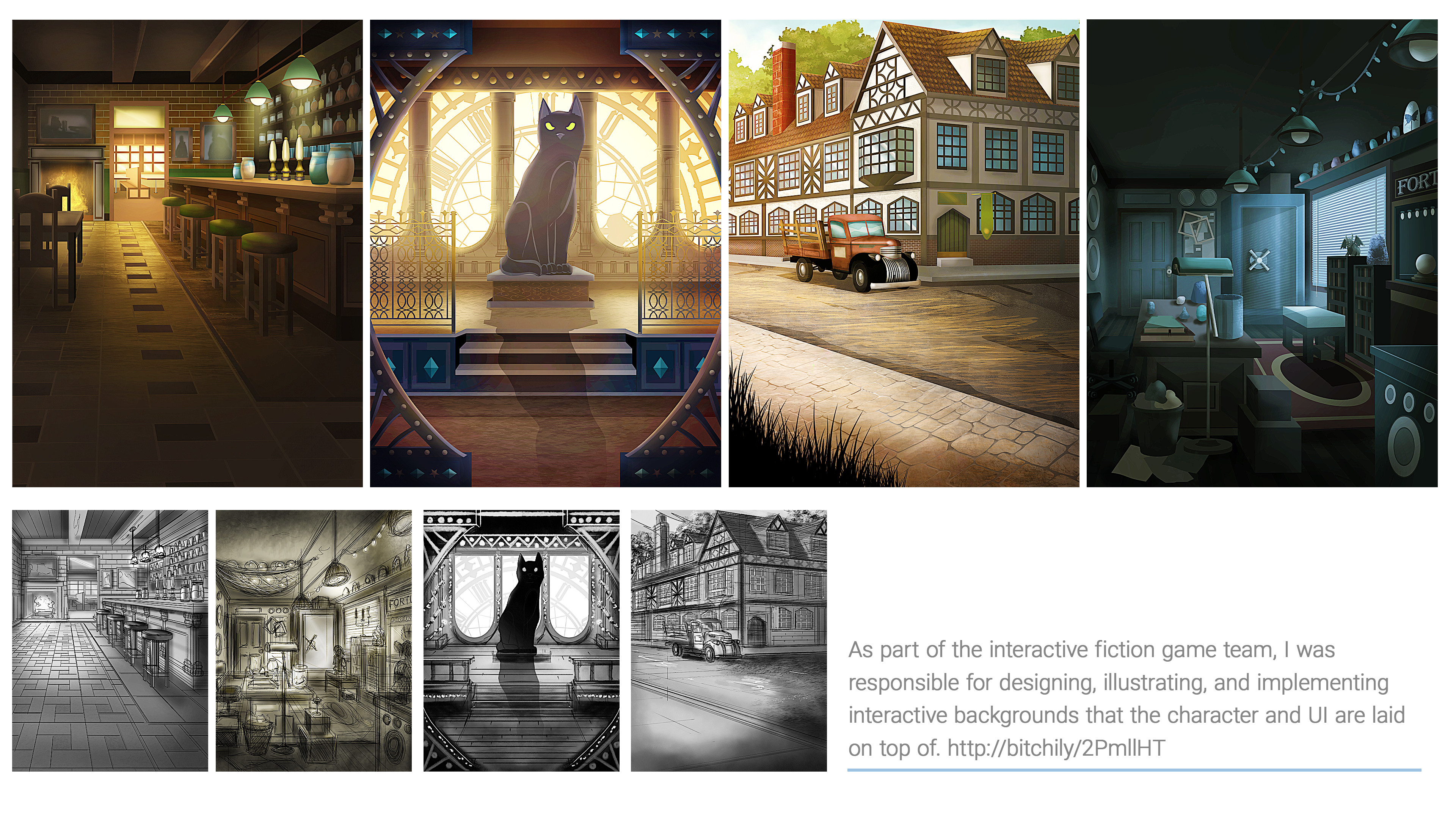 Interactive fiction background illustrations.