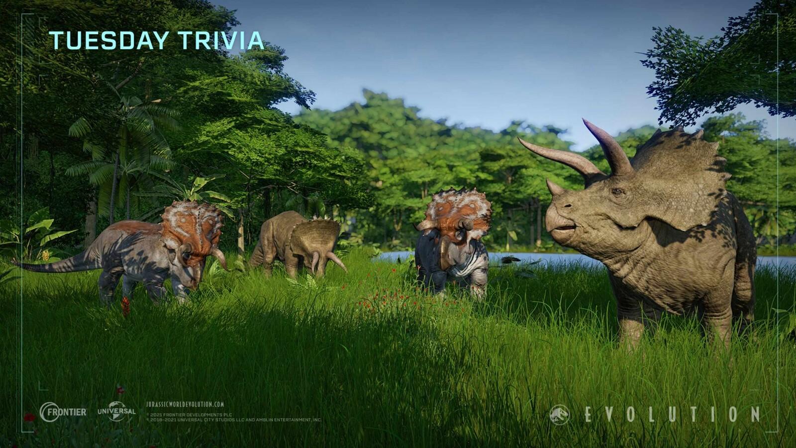Jurassic World Evolution - Tuesday Trivia Triceratops