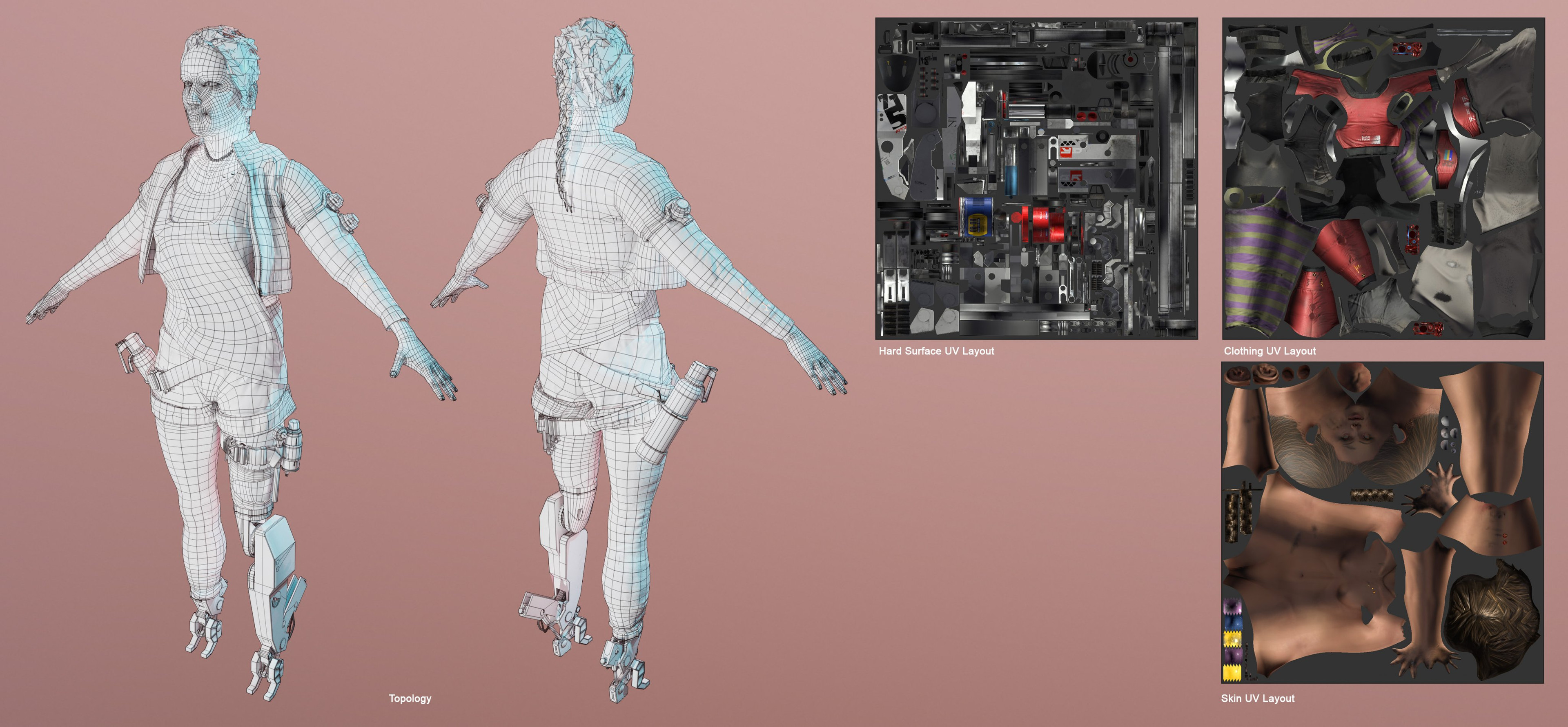 2K texture map preview  and UV layouts
