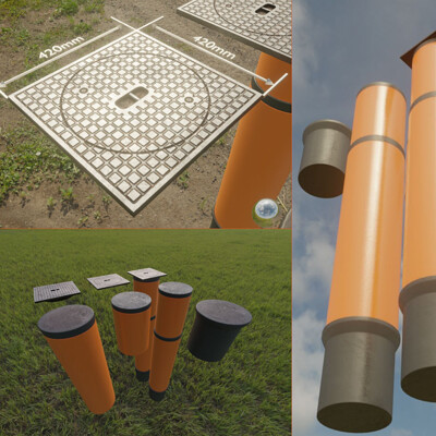 Dennis haupt 3dhaupt sewer cover 5 with pipes for an external visualization of a house connection shaft modelled and textured by 3dhaupt in blender 2 92 1