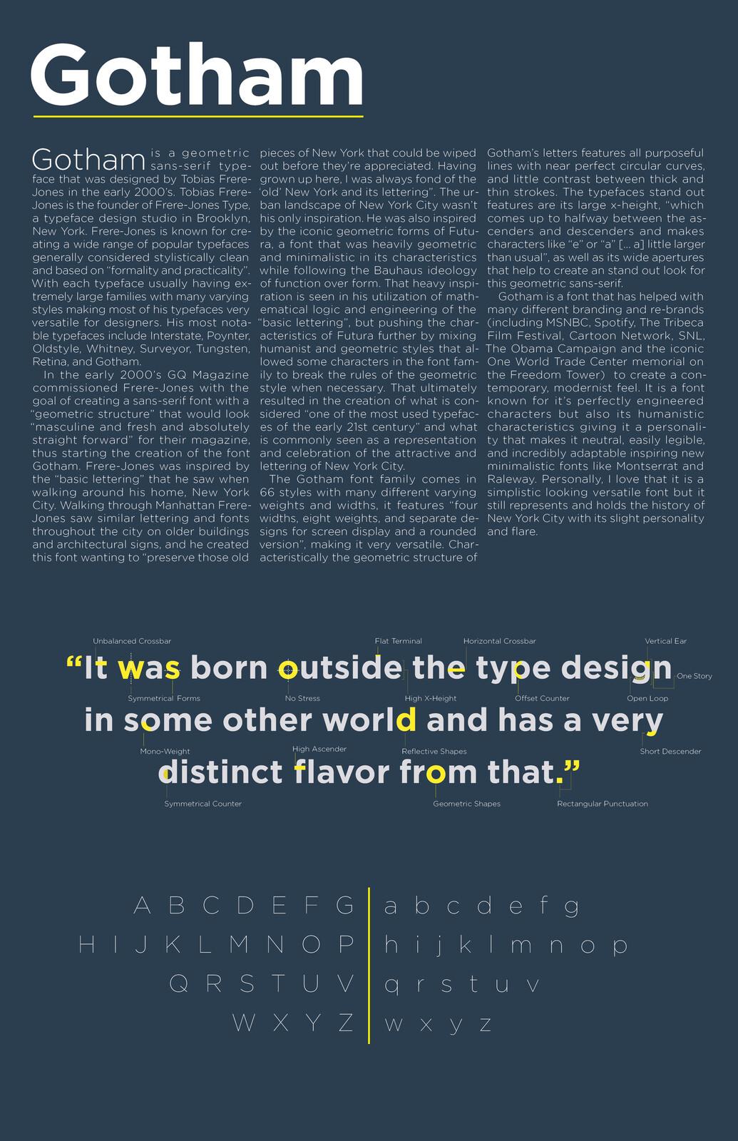 Gotham Typeface Study
