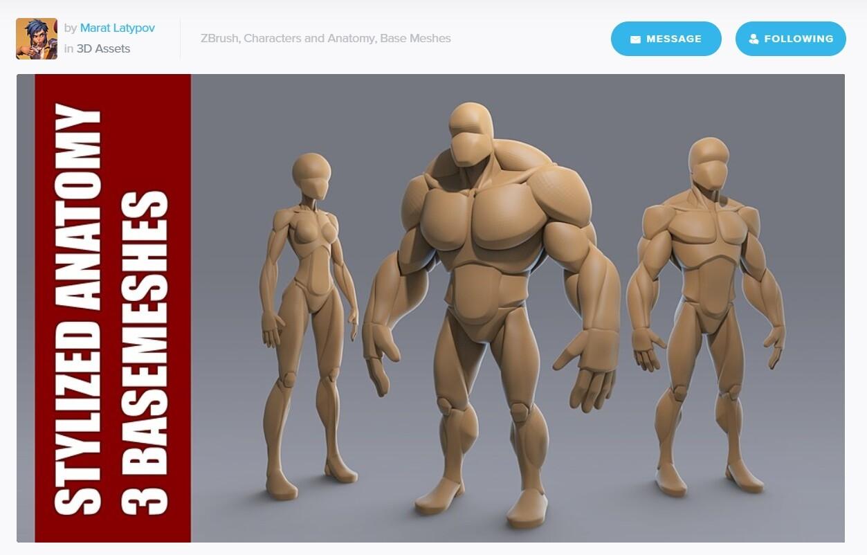 Stylized Anatomy 3 BASEMESHes for ZBRUSH!!!