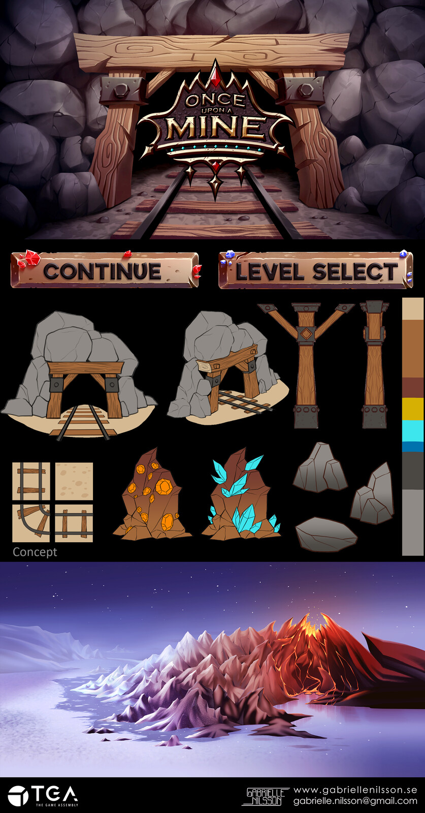 Some of the assets I worked on for our second game project. A puzzle game about lazy dwarves in a mine.