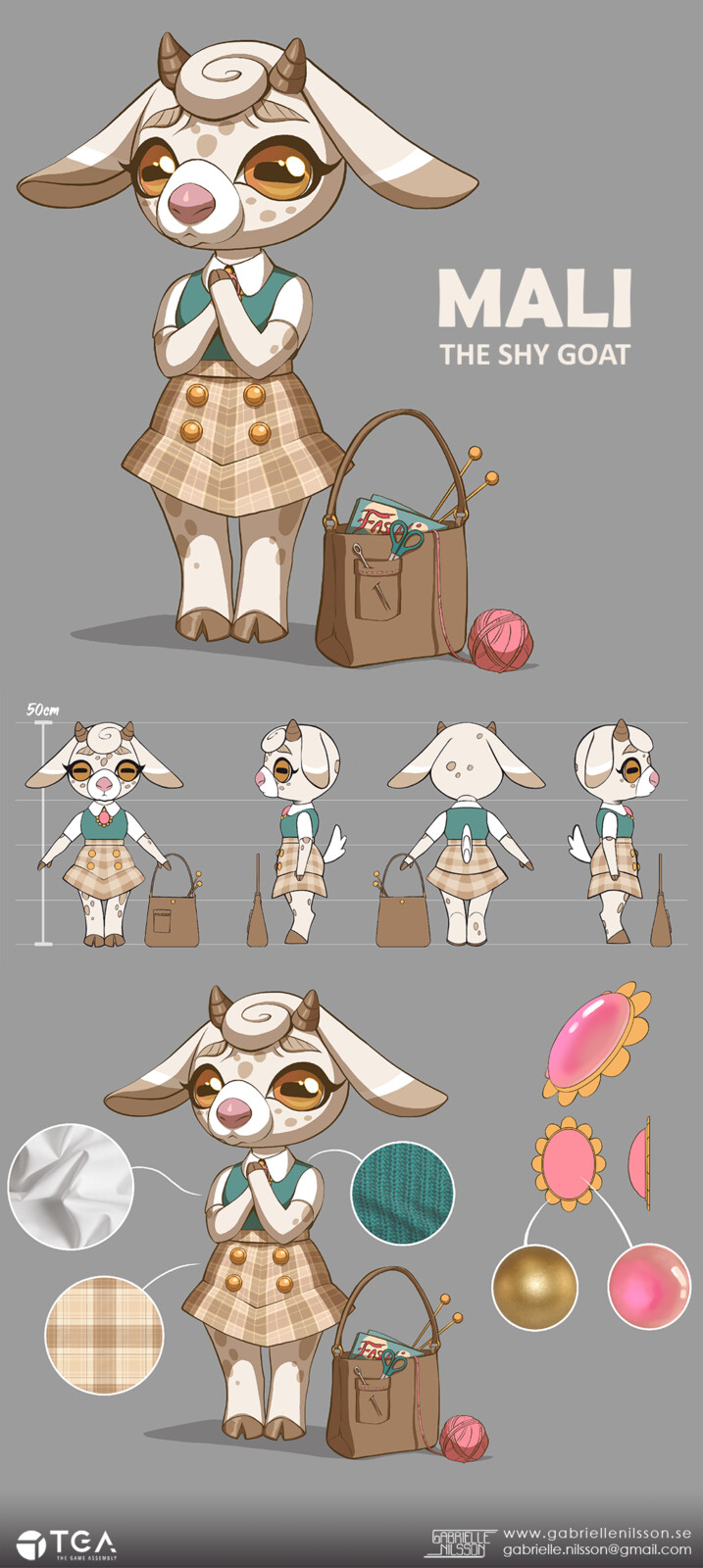 Mali the shy goat! Character concept and breakdown.