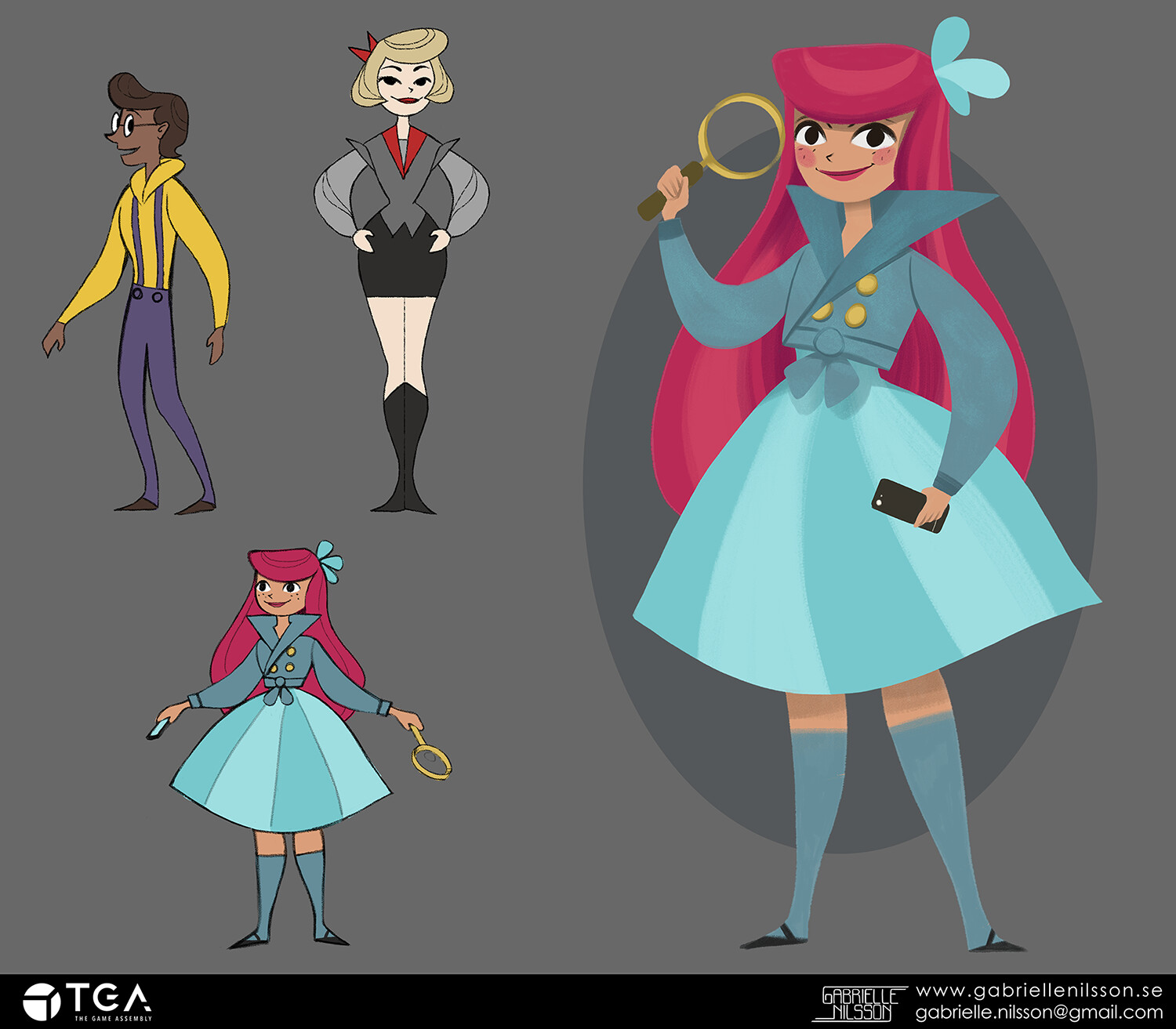 Character concept art assignment where we had to adapt a specific style. I got assigned Mary Blair as my style reference.