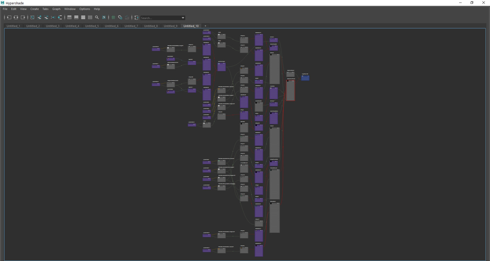 Hypershade full. My layered shader using 5 masks.