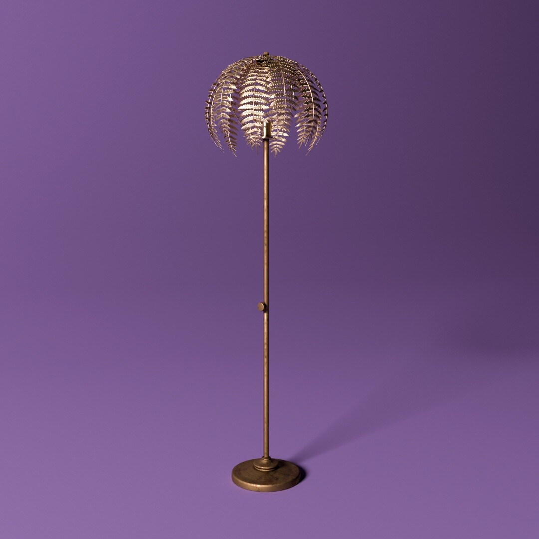 Gold Fern Leaf Floor Lamp