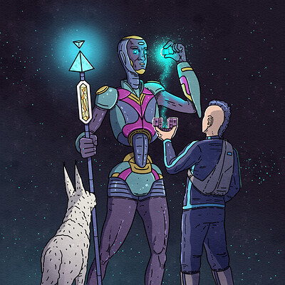 Keenan meets the alien comic book illustration