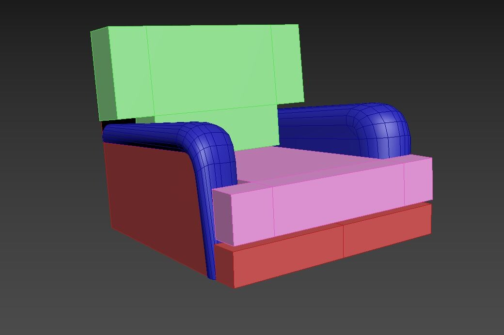 Progress 1/5 - Start with very low poly shapes and block out the form.