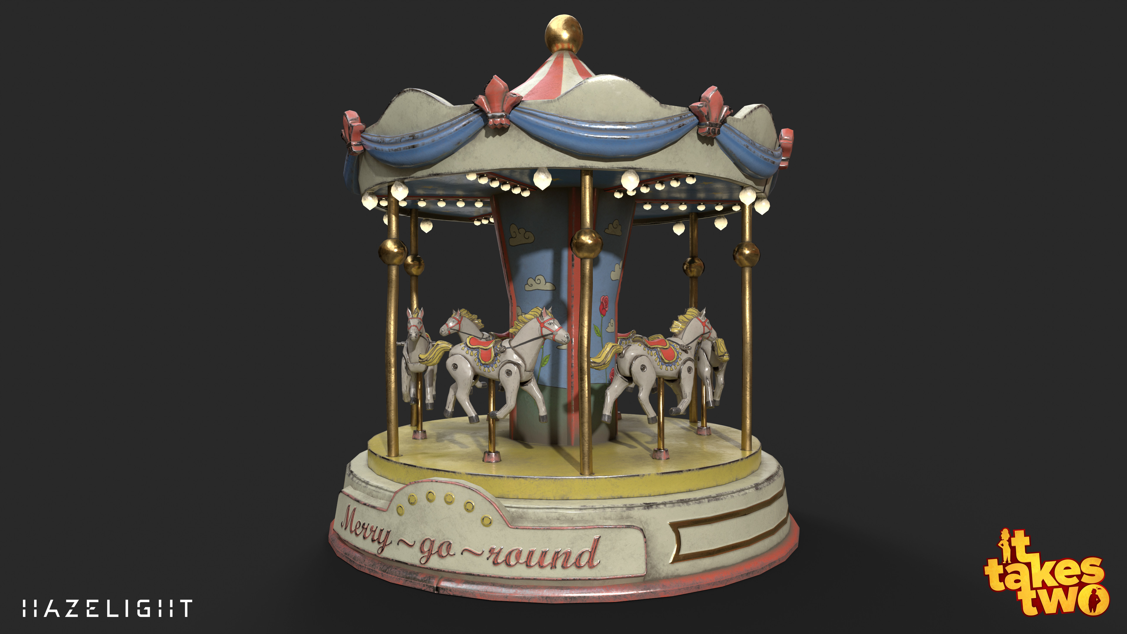 Merry-go-round you can ride in The Attic. The high poly and low poly of the horse was made by character artist Malin Schneider.