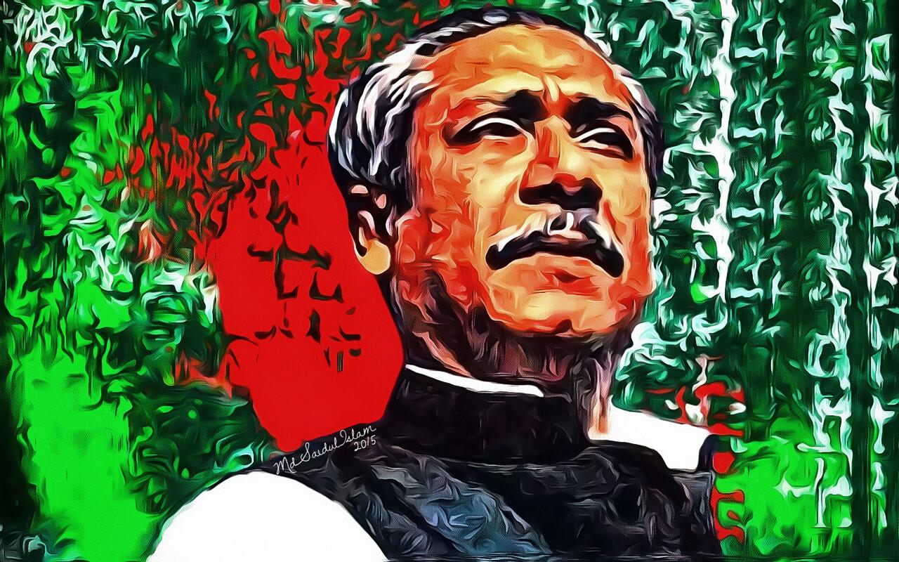 A digital portrait of Bangladesh's 'Father of the Nation' Bangabandhu Sheikh Mujibur Rahman  License: Creative Commons Attribution-Noncommercial-No Derivative Works 3.0 License