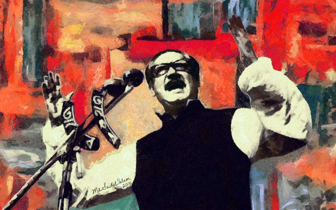 A digital portrait of  The greatest Bangalee of all time, Bangabandhu Sheikh Mujibur Rahman  License: Creative Commons Attribution-Noncommercial-No Derivative Works 3.0 License