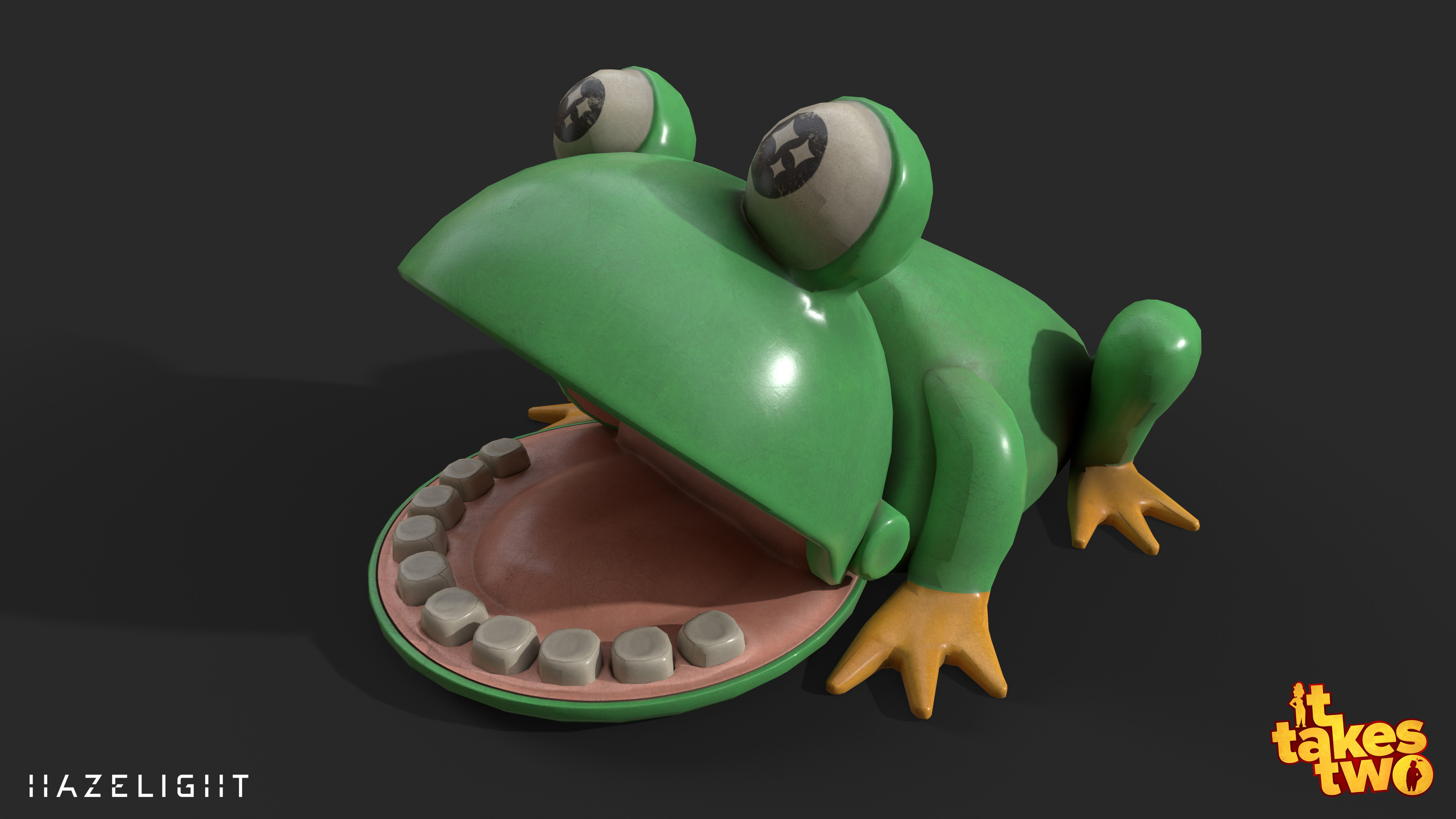Frog toy in Hopscotch, I finished the asset based on a blockout by Beatrice Tisander.