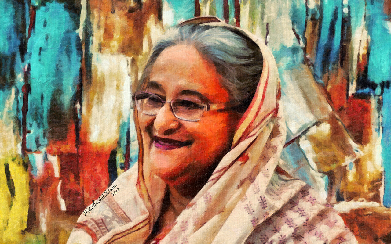 A digital portrait of Sheikh Hasina, The Mother of Humanity  License: Creative Commons Attribution-Noncommercial-No Derivative Works 3.0 License